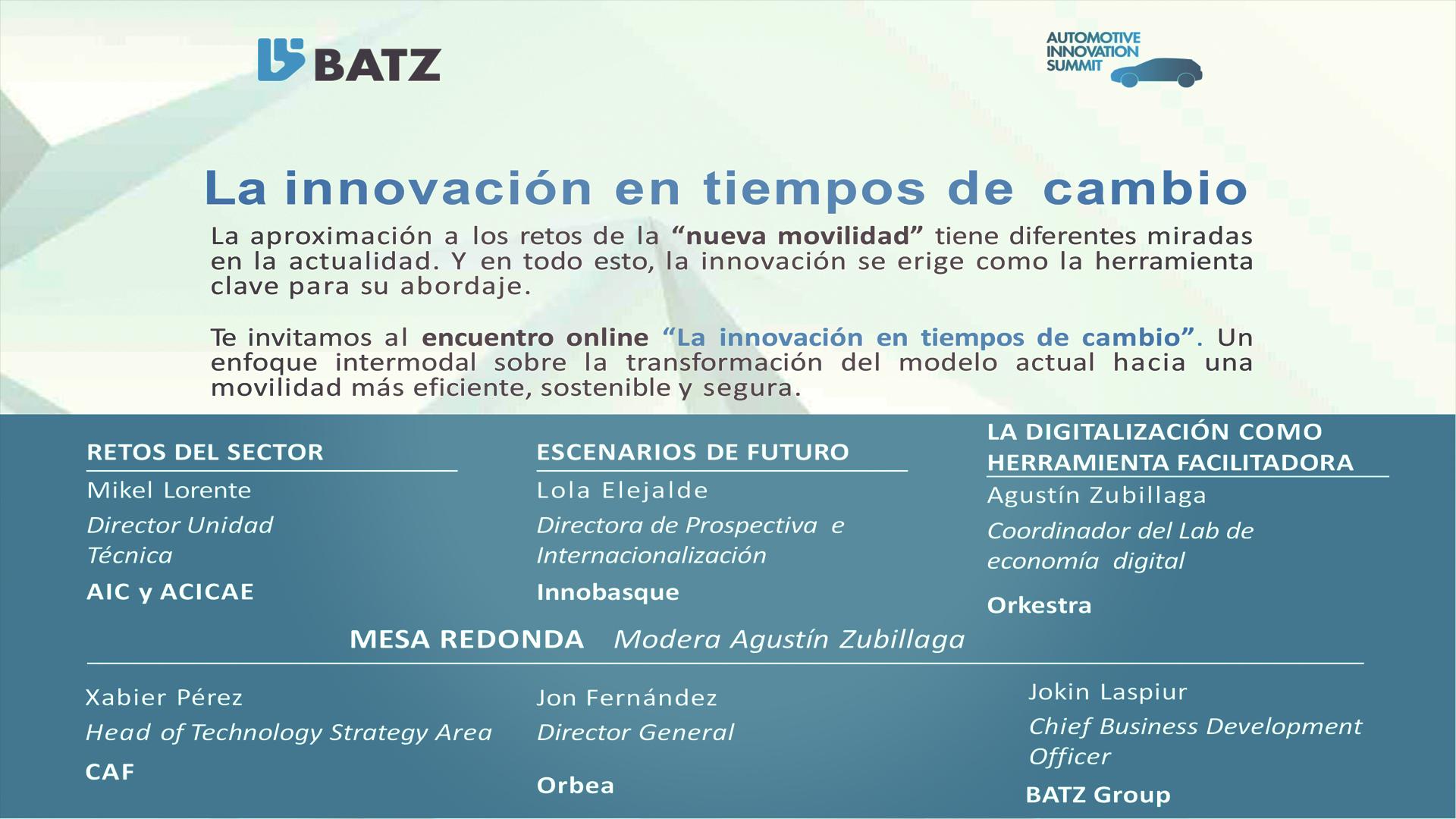 """""""La innovación en tiempos de cambio"""" – BATZ Innovation Summit 2020"""